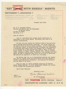 Letter from National Council of American-Soviet Friendship to W. E. B. Du Bois