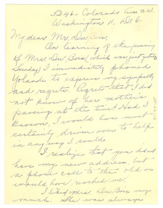 Letter from Adella Parks to W. E. B. Du Bois