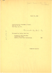 Invoice from W. E. B. Du Bois to National Council of American-Soviet Friendship