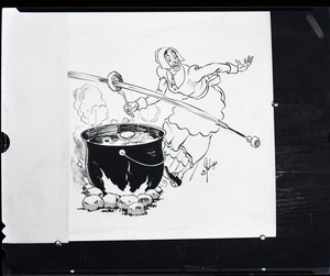 Henry A. Ellis and the doughnut: cartoon of Puritan woman frying dough, with Indian arrow shooting a hole in it