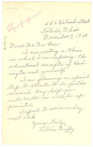 Letter from Lillian Duffy to W. E. B. Du Bois