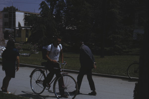 Cyclist in park