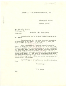 Letter from Mme. C. J. Walker Manufacturing Company to Pittsburgh Courier