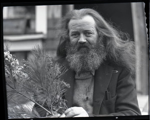 Charles Coffin, The Maine Hermit, holding bouquet of asters and white pine