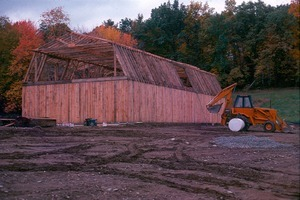 Barn under construction with a planned meeting room upstairs and Community Office downstairs