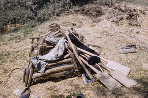 Agricultural tools in a heap