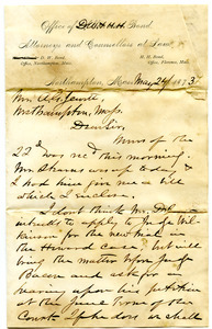 Bond Brothers and Bottum correspondence with Westhampton (Mass. : Town)