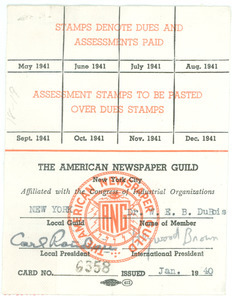 American Newspaper Guild membership card