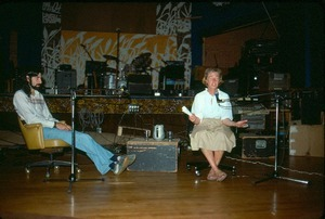 Findhorn founder, Dorothy McLean lecturing in Theater with Bill Grabin