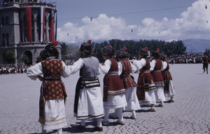 Adolescent girls at national celebration in Skopje