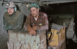 Gold miners in rail conveyor