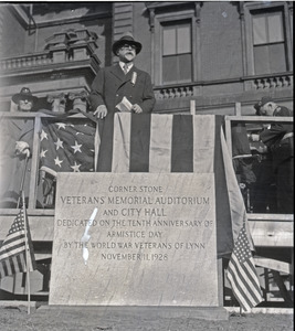 Benjamin Johnson speaking at dedication ceremonies, for laying the cornerstone of the Veteran's Memorial Auditorium and City Hall