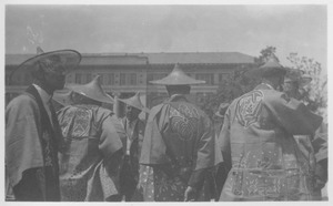Class of 1911 alumni in Asian costumes at a reunion