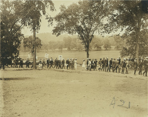 Members of the class of 1896 marching in procession
