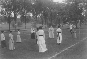 Women at a summer school volleyball class