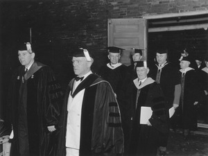 Hugh Potter Baker leads faculty members during commencement exercises