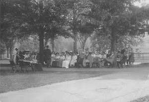 Summer class in session on campus lawn