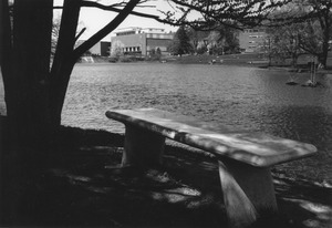 Class of 1921 memorial bench at campus pond