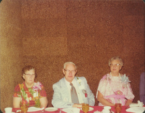 Josiah Parsons with Mrs. Parsons and Mrs. Clarence Parsons at reunion dinner