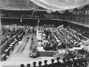 Commencement ceremony in the Physical Education building