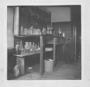 Laboratory bench and chemicals in the Insectary (also known as the Entomological Building)