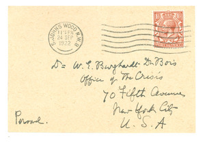 Letter from A. Werner to W. E. B Du Bois