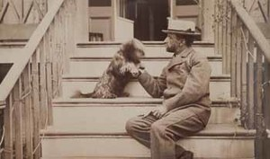 Henry Adams seated with dog on steps of piazza