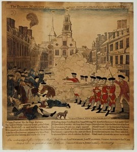 The Bloody Massacre perpetrated in King Street, Boston on March 5th 1770 by a party of the 29th Regiment