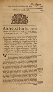 An Act of Parliament Passed in the Sixth Year of the Reign of His Majesty King George the Third. 1766.