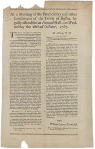 At a Meeting of the Freeholders and other Inhabitants of the Town of Boston, legally assembled at Faneuil-Hall, on Wednesday the 28th of October 1767