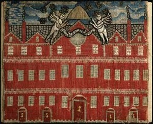 Embroidered view of Harvard Hall