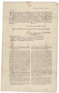 Boston, April 9, 1773: Sir, The Committee of Correspondence of this Town have received the following intelligence ...
