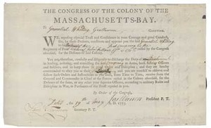 Appointment as lieutenant in Massachusetts militia, 19 May 1775