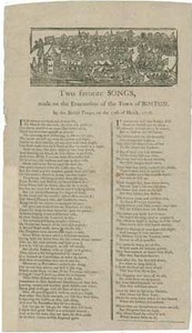 Two favorite Songs made on the Evacuation of the Town of Boston by the British Troops, on the 17th of March 1776