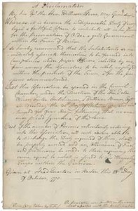 Proclamation by General William Howe (manuscript copy), 28 October 1775