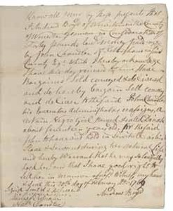 Bill of sale from Andrew Boyd to John Chandler for Dinah (a slave), 20 February 1769