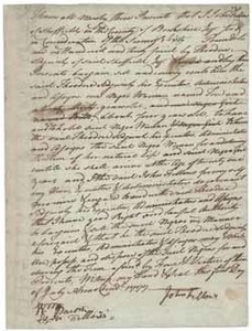 Bill of sale from John Fellows to Theodore Sedgwick for Ton (a slave), 1 July 1777