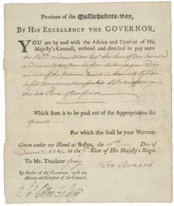 Authorization of payment from Massachusetts Governor Francis Bernard to Andrew Oliver, 10 December 1766
