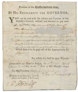 Authorization of payment from Massachusetts Governor Francis Bernard to Thomas Hutchinson, 10 December 1766
