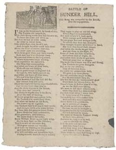 Battle of Bunker Hill: This Song was composed by the British after the engagement