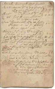 Hugh Hall account book, 1728-1733