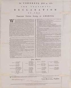 In Congress, July 4, 1776. The Unanimous Declaration of the Thirteen United States of America