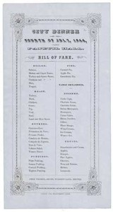 City Dinner on the Fourth of July, 1844, at Faneuil Hall. Bill of Fare.