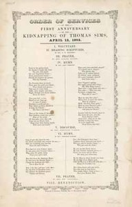 Order of Services at the First Anniversary of the Kidnapping of Thomas Sims, April 12, 1852