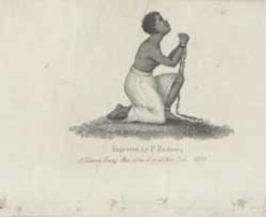 African American female, chained and kneeling ...