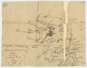 Manuscript map of the Boston Harbor, 1775