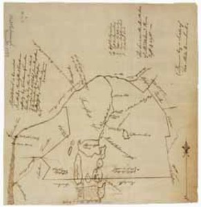 Manuscript map of the town of Middleborough, 14 June 1793