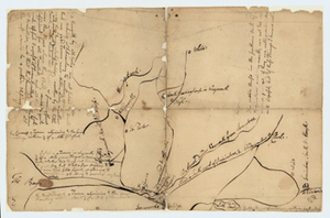 Manuscript map of taverns in Braintree and Weymouth, Mass., circa 1760