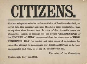 """Citizens. The last telegrams relative to the condition of President Garfield ..."""