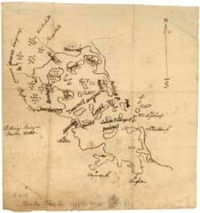 Manuscript map of Boston and Boston Harbor, 1776